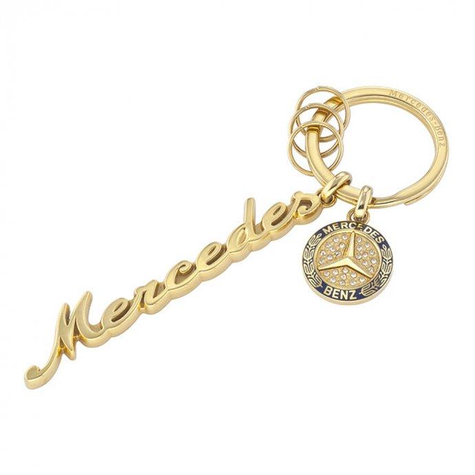 Schlüsselanhänger Damen Classic gelbgold / blau Edelstahl