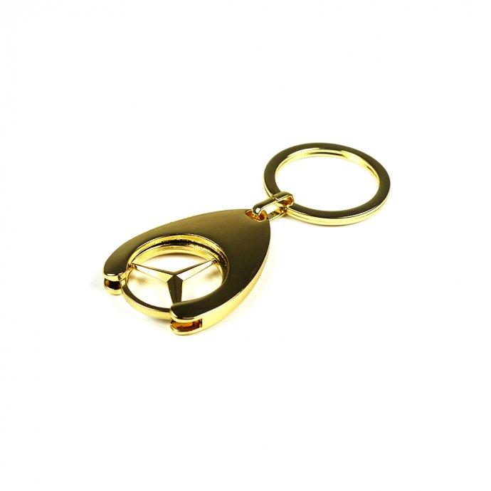 Mercedes Benz Schlüsselanhänger Einkaufswagenchip gold