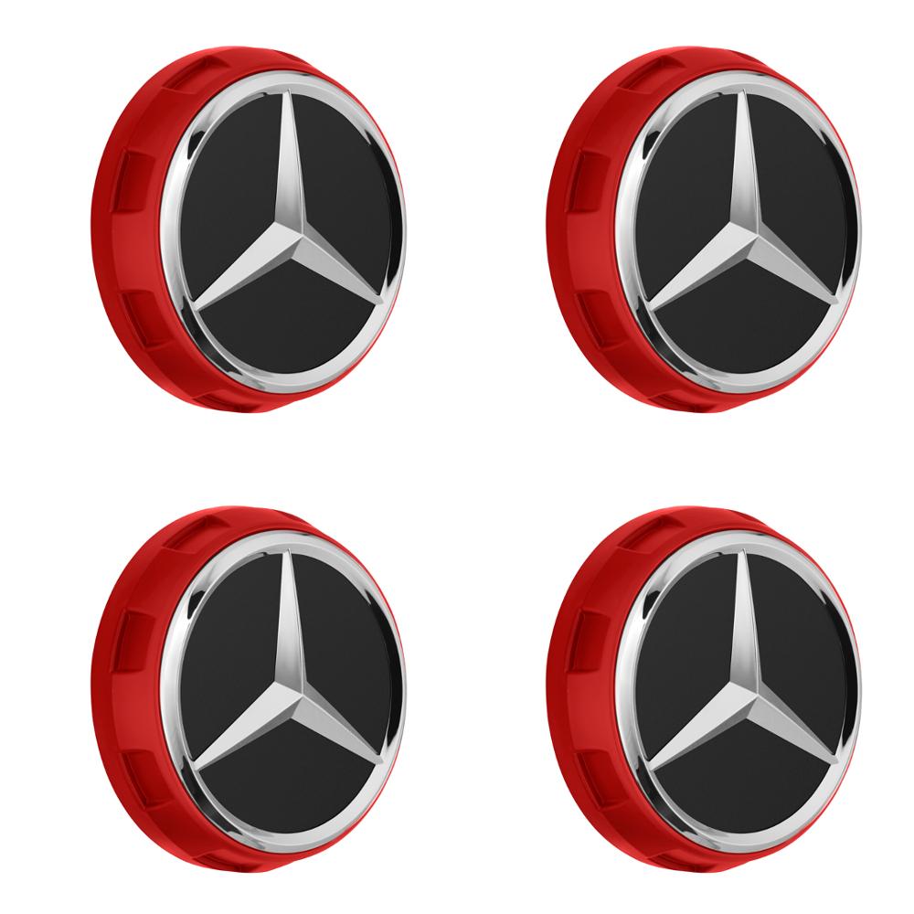 4 Stück AMG Radnabenabdeckung ROT